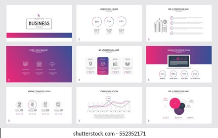 Minimal presentation slide templates and business brochures, pink and purple theme. Set of modern infographic elements for web, print, magazine, flyer, brochure, marketing concepts. Vector