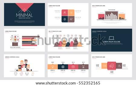 minimal presentation slide templates business brochures stock vector