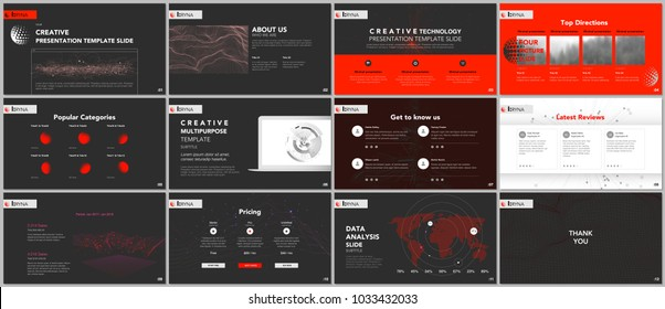 Minimal presentation templates. Tech elements on black background. Technology sci-fi concept vector design. Presentation slides for flyer, leaflet, brochure, report, marketing, advertising, banner