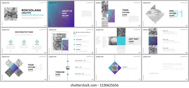 Minimal presentations design, portfolio vector templates with elements on white background. Multipurpose template for presentation slide, flyer leaflet, brochure cover, report, marketing, advertising.