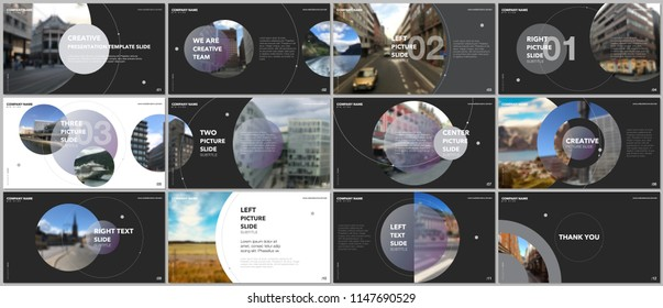 Minimal presentations design, portfolio vector templates with circle elements on black background. Multipurpose template for presentation slide, flyer leaflet, brochure cover, report, advertising.