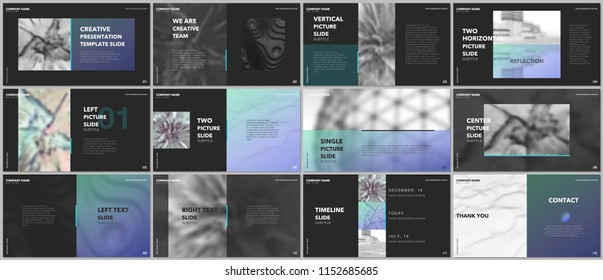 Minimal presentations design, portfolio vector templates with elements on black background. Multipurpose template for presentation slide, flyer leaflet, brochure cover, report, marketing, advertising.