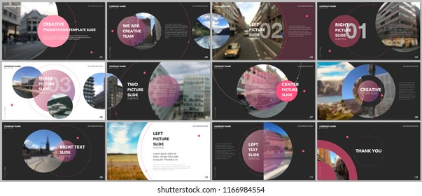 Minimal presentations design, portfolio vector templates with circle elements on black background. Multipurpose template for presentation slide, flyer leaflet, brochure cover, report, advertising