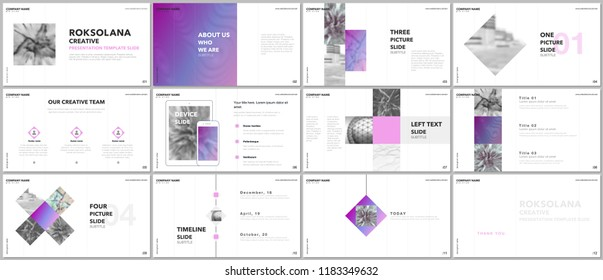 Minimal presentations design, portfolio vector templates with elements on white background. Multipurpose template for presentation slide, flyer leaflet, brochure cover, report, marketing, advertising