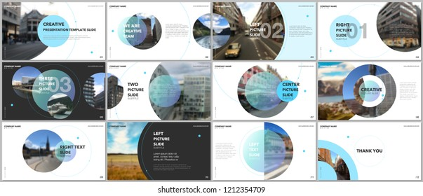 Minimal presentations design, portfolio vector templates with circle elements on white background. Multipurpose template for presentation slide, flyer leaflet, brochure cover, report, marketing.