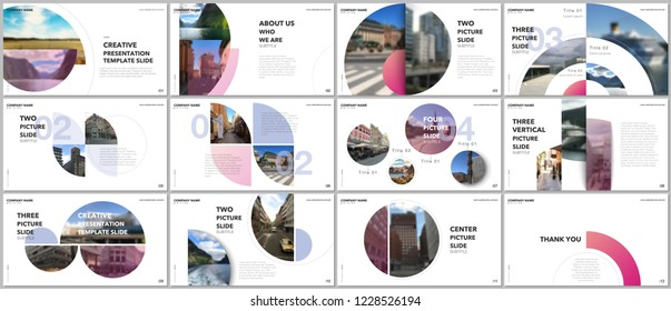 Minimal presentations design, portfolio vector templates with circle elements on white background. Multipurpose template for presentation slide, flyer leaflet, brochure cover, report, marketing
