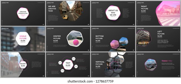 Minimal presentations design, portfolio vector templates with hexagons and hexagonal elements. Multipurpose template for presentation slide, flyer leaflet, brochure cover, report, advertising.