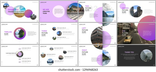 Minimal presentations design, portfolio vector templates with pink colorful circle elements on white background. Multipurpose template for presentation slide, flyer leaflet, brochure cover, report.