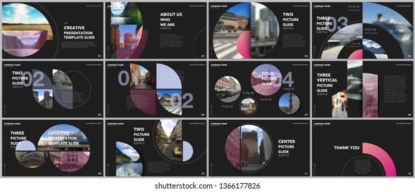Minimal presentations design, portfolio vector templates with circle elements on black background. Multipurpose template for presentation slide, flyer leaflet, brochure cover, report, advertising.