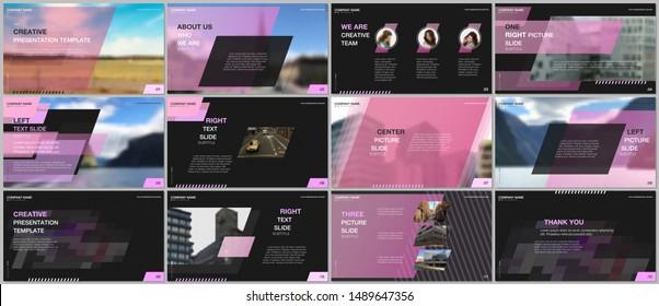 Minimal presentations design, portfolio vector templates with colorful gradient geometric background. Pink design. Multipurpose template for presentation slide, flyer leaflet, brochure cover, report