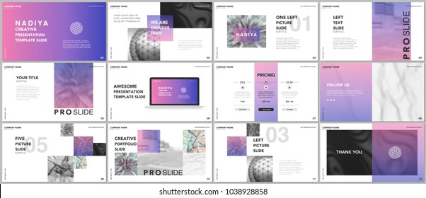 Minimal presentations, portfolio templates. Blue elements on a white background. Brochure cover vector design. Presentation slides for flyer, leaflet, brochure, report, marketing, advertising, banner