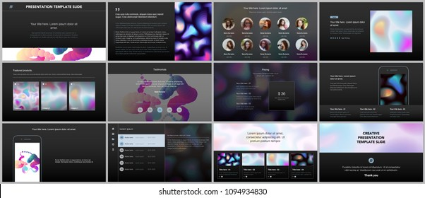 Minimal presentations, portfolio templates with geometric patterns, gradients, fluid shapes on black background. Brochure cover vector design. Presentation slides for flyer, brochure, report etc.