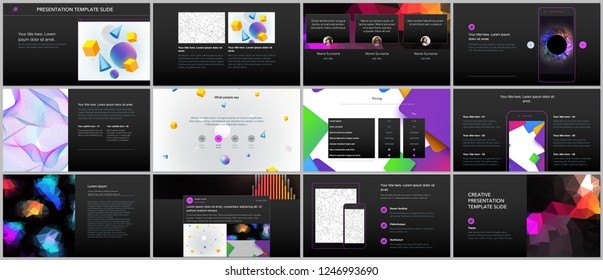 Minimal presentations, portfolio templates with vibrant geometric backgrounds made simple shapes in hipster style. Presentation slides for flyer, leaflet, brochure, report, marketing, advertising.