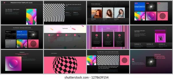 Minimal presentations, portfolio templates with vibrant colorful gradient backgrounds. Brochure cover vector design. Presentation slides for flyer, leaflet, brochure, report, marketing, advertising