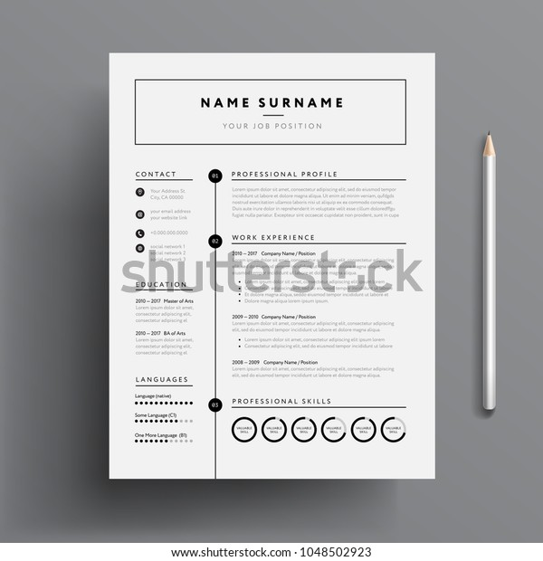 Minimal Professional Cv Resume Template Super Stock Vector ...