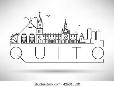 Minimal Quito City Linear Skyline with Typographic Design