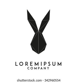 Minimal rabbit emblem template for business. Abstract rabbit head with grid lines. Vector illustration.