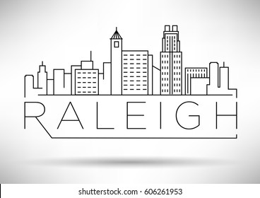 Minimal Raleigh Linear City Skyline with Typographic Design