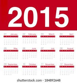 Minimal red calender 2015 year