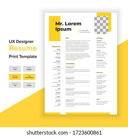 Minimal Resume and Cover Letter Template Layout with Yellow color. UX designer & Graphic designer resume template.