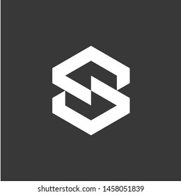 Minimal S Initial Logo Design with structure aspect, Negative Space S letter mark, S and Structure Logo Design