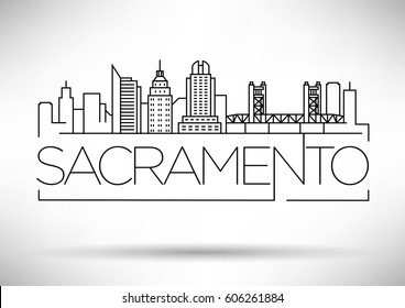 Minimal Sacramento Linear City Skyline with Typographic Design