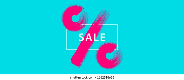 Minimal sale banner design with pastel colors and percentage symbol illustrated with brush.