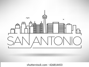 Minimal San Antonio City Linear Skyline with Typographic Design