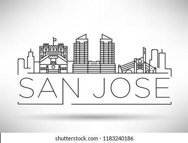 Minimal San Jose City Linear Skyline with Typographic Design