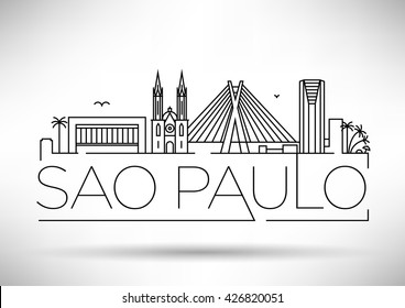 Minimal Sao Paulo City Linear Skyline with Typographic Design
