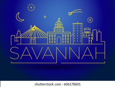 Minimal Savannah Linear City Skyline with Typographic Design