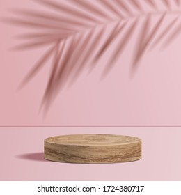 minimal scene with geometric forms. cylinder wood podium in pink background with shadow leaves. Scene to show cosmetic product, Showcase, shopfront, display case. 3d vector illustration.