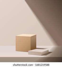 minimal scene with geometrical forms.  box podium with sun light. Empty pedestal platform for award, product presentation, mock up background, stand,  Podium, stage pedestal or platform illuminated.