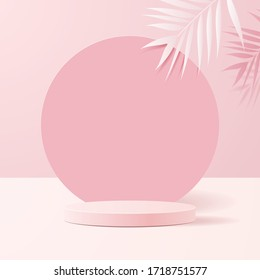 minimal scene with geometrical forms. Cylinder podiums in soft pink background with paper leaves on column. Scene to show cosmetic product, Showcase, shopfront, display case. 3d vector illustration.