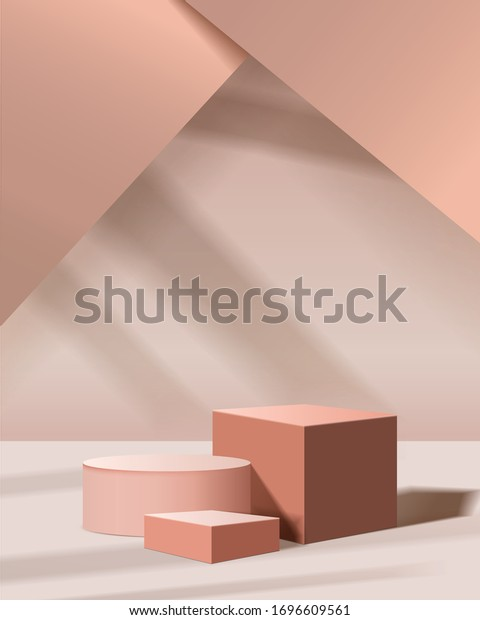 minimal scene with geometrical forms. cylinder and cube podiums in cream background with sun light. Scene to show cosmetic product, Showcase, shopfront, display case. 3d vector illustration.