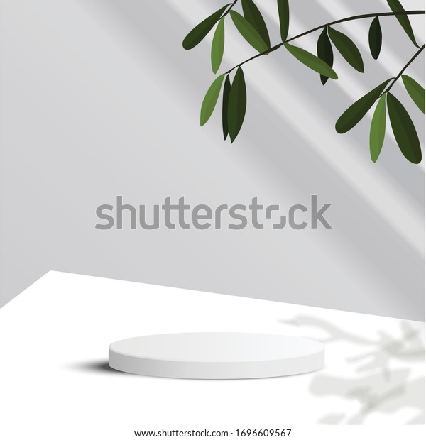 minimal scene with geometrical forms. Cylinder podium in white background with leaves and sun light. Scene to show cosmetic product, Showcase, shopfront, display case. 3d vector illustration.