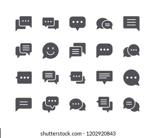 Minimal Set of Chat Bubble Flat Icon. Pixel Perfect.