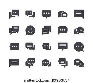 Minimal Set of Chat Bubble Glyph Icons