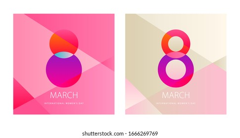 Minimal set for Happy International Women's Day. 8 March banner design with flat colors. template for ad, promotion, social media, web, landing page, print.