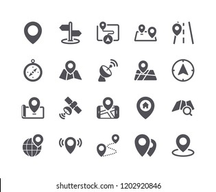 Minimal Set of Map and Location Flat Icon. Pixel Perfect.