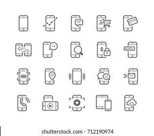 Minimal Set of Mobile Phone Line Icons. Editable Stroke. 48x48 Pixel Perfect.
