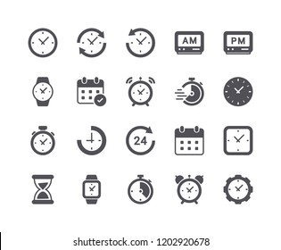 Minimal Set of Time and Clock Flat Icon. Pixel Perfect.