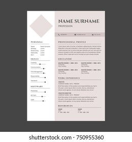 feminine elegant pink resume template stock vector royalty free