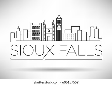 Minimal Sioux Falls Linear City Skyline with Typographic Design