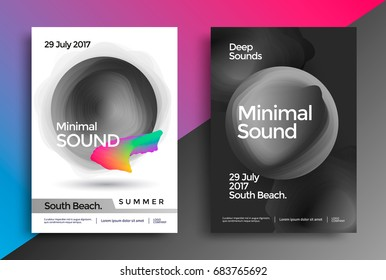 Minimal sound poster. Modern flyer for electronic music event. Black and white background with wavy circles.
