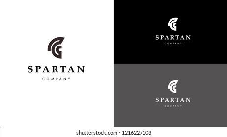 Minimal Spartan Helmet Vector Logo