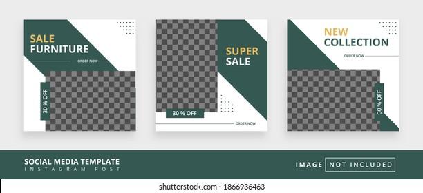 Minimal square social media promotion templates. Editable banner. furniture themes. Vector illustration for instagram post. Photo holder provided