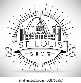 Minimal St. Louis City Linear Skyline with Typographic Design