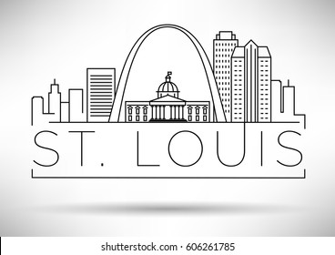 Minimal St. Louis Linear City Skyline with Typographic Design