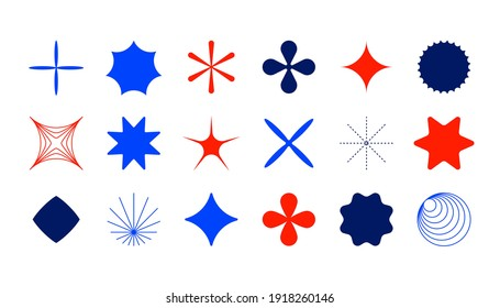Minimal star shapes. Set of minimal icons in colors. Bauhaus inspired design elements. Futuristic composition in vector